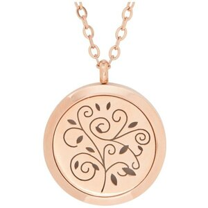 Serina & Company - Stainless Steel Rose Gold Swirls Pendant | Aromatherapy Jewelry for Retail!