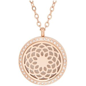Serina & Company - Stainless Steel Rose Gold Sunflower Crystal Pendant | Aromatherapy Jewelry for Retail!