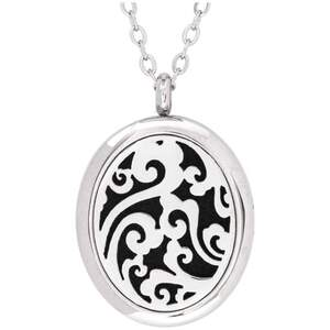 Serina & Company - Stainless Steel Whimsical Oval Pendant | Aromatherapy Jewelry for Retail!