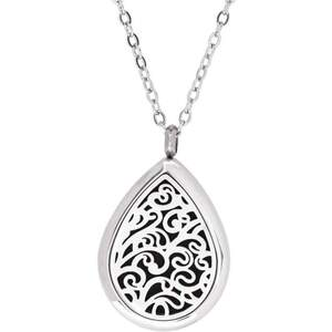 Serina & Company - Stainless Steel Swirl Tear Drop Pendant | Aromatherapy Jewelry for Retail!