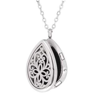 Serina & Company - Stainless Steel Floral Tear Drop Pendant | Aromatherapy Jewelry for Retail!