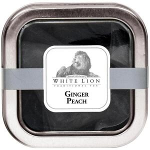 White Lion Tea - Ginger Peach Black Tea 5 Count Tin of Pyramid Sachets