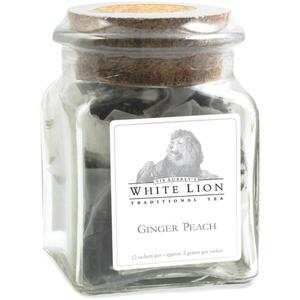 White Lion Tea - Ginger Peach Black Tea 12 Count Jar of Pyramid Sachets