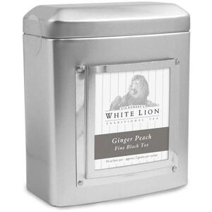 White Lion Tea - Ginger Peach Black Tea 18 Count Tin of Pyramid Sachets