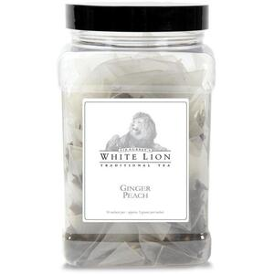 White Lion Tea - Ginger Peach Black Tea 50 Count Canister of Pyramid Sachets