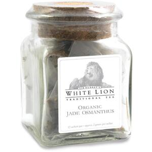 White Lion Tea - Organic Jade Osmanthus Oolong Tea 12 Count Jar of Pyramid Sachets