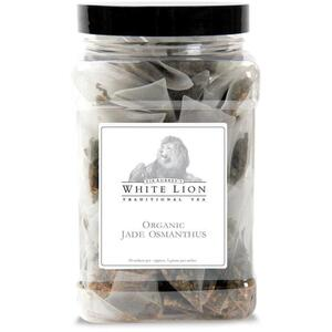 White Lion Tea - Organic Jade Osmanthus Oolong Tea 50 Count Canister of Pyramid Sachets