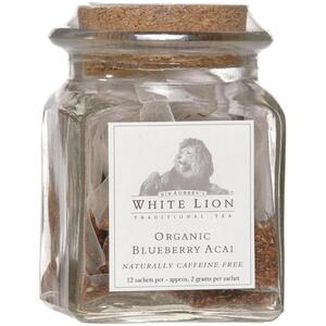 White Lion Tea - Blueberry Acai Rooibos Tea 12 Count Jar of Pyramid Sachets