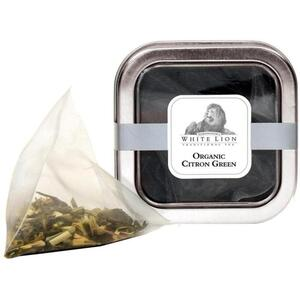 White Lion Tea - Organic Citron Green Tea 5 Count Tin of Pyramid Sachets