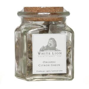 White Lion Tea - Organic Citron Green Tea 12 Count Jar of Pyramid Sachets