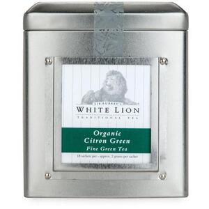 White Lion Tea - Organic Citron Green Tea 18 Count Tin of Pyramid Sachets