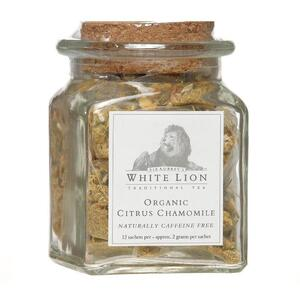 White Lion Tea - Organic Citrus Chamomile Tea 12 Count Jar of Pyramid Sachets