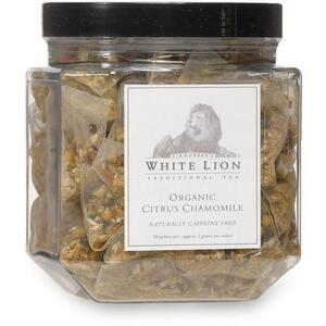 White Lion Tea - Organic Citrus Chamomile Tea 50 Count Canister of Pyramid Sachets