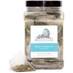 White Lion Tea - White Ambrosia White Tea 200 Count Resealable Bag of Pyramid Sachets