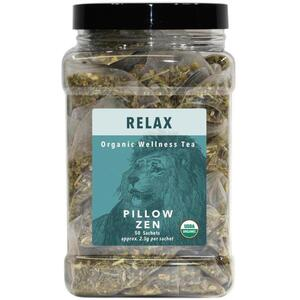 White Lion Tea - Relax (Pillow Zen) Tea 50 Count Canister of Pyramid Sachets