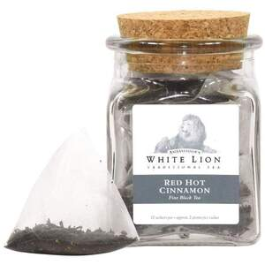 White Lion Tea - Red Hot Cinnamon Black Tea 12 Count Jar of Pyramid Sachets