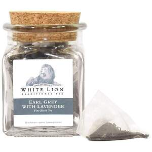 White Lion Tea - Earl Grey Lavender Black Tea 12 Count Jar of Pyramid Sachets
