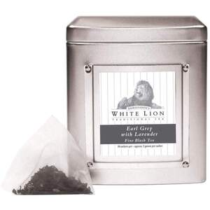 White Lion Tea - Earl Grey Lavender Black Tea 18 Count Tin of Pyramid Sachets