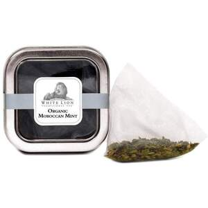 White Lion Tea - Organic Moroccan Mint Green Tea 5 Count Tin of Pyramid Sachets