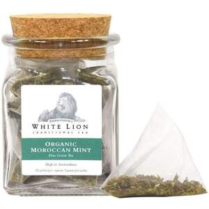 White Lion Tea - Organic Moroccan Mint Green Tea 12 Count Jar of Pyramid Sachets