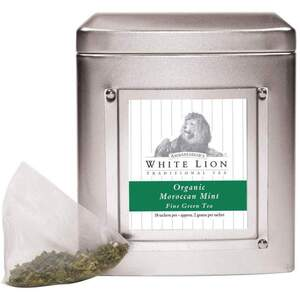 White Lion Tea - Organic Moroccan Mint Green Tea 18 Count Tin of Pyramid Sachets