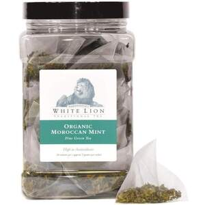 White Lion Tea - Organic Moroccan Mint Green Tea 50 Count Canister of Pyramid Sachets