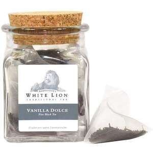White Lion Tea - Vanilla Dolce Black Tea 12 Count Jar of Pyramid Sachets
