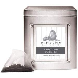 White Lion Tea - Vanilla Dolce Black Tea 18 Count Tin of Pyramid Sachets