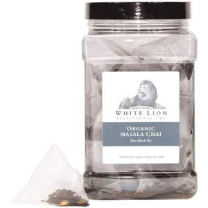 White Lion Tea - Organic Masala Chai Black Tea 50 Count Canister of Pyramid Sachets