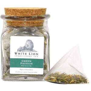 White Lion Tea - Green Passion Green Tea 12 Count Jar of Pyramid Sachets