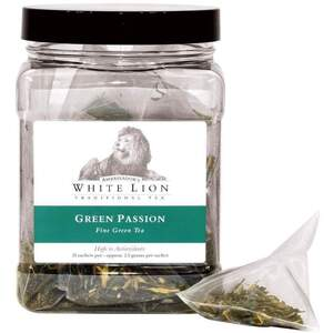 White Lion Tea - Green Passion Green Tea 18 Count Tin of Pyramid Sachets