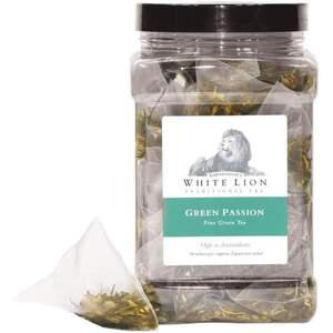 White Lion Tea - Green Passion Green Tea 50 Count Canister of Pyramid Sachets