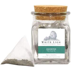 White Lion Tea - Organic Jasmine Green Tea 12 Count Jar of Pyramid Sachets