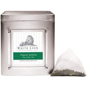 White Lion Tea - Organic Jasmine Green Tea 18 Count Tin of Pyramid Sachets