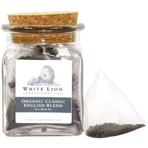 White Lion Tea - Organic Classic English Blend Black Tea 12 Count Jar of Pyramid Sachets