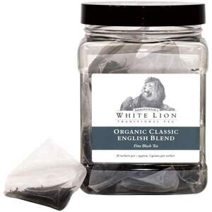 White Lion Tea - Organic Classic English Blend Black Tea 25 Count Canister of Pyramid Sachets