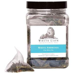 White Lion Tea - White Ambrosia White Tea 25 Count Canister of Pyramid Sachets
