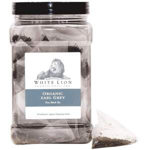 White Lion Tea - Organic Earl Grey Black Tea 50 Count Canister of Pyramid Sachets