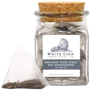 White Lion Tea - Organic Earl Grey Decaffeinated Black Tea 12 Count Jar of Pyramid Sachets
