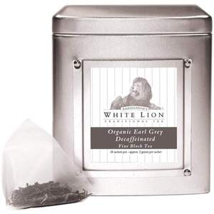 White Lion Tea - Organic Earl Grey Decaffeinated Black Tea 18 Count Tin of Pyramid Sachets