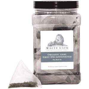 White Lion Tea - Organic Earl Grey Decaffeinated Black Tea 50 Count Canister of Pyramid Sachets