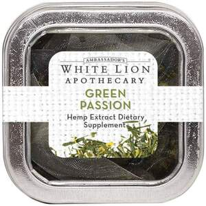 White Lion Tea - Green Passion - Hemp Extract-Infused Tea 5 Count Tin of Pyramid Sachets