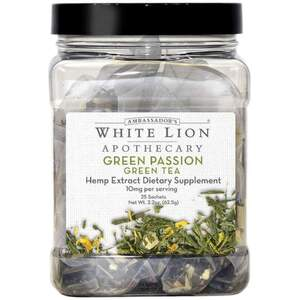 White Lion Tea - Green Passion - Hemp Extract-Infused Tea 25 Count Canister of Pyramid Sachets