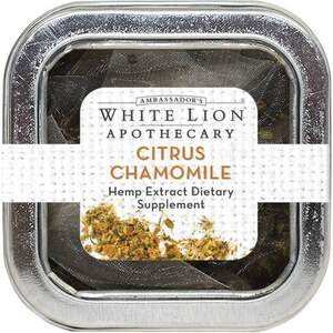 White Lion Tea - Citrus Chamomile - Hemp Extract-Infused Tea 5 Count Tin of Pyramid Sachets