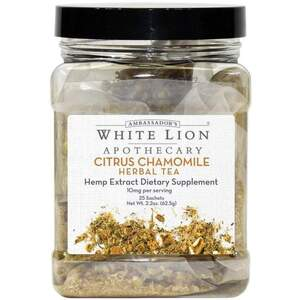 White Lion Tea - Citrus Chamomile - Hemp Extract-Infused Tea 25 Count Canister of Pyramid Sachets