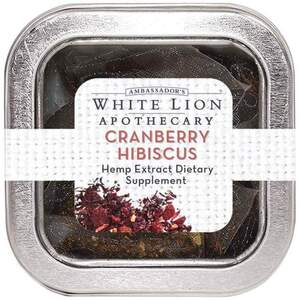 White Lion Tea - Cranberry Hibiscus - Hemp Extract-Infused Tea 5 Count Tin of Pyramid Sachets