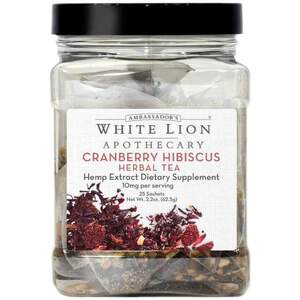 White Lion Tea - Cranberry Hibiscus - Hemp Extract-Infused Tea 25 Count Canister of Pyramid Sachets