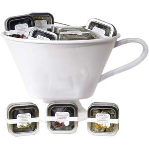 White Lion Tea - Hemp Extract Infused Tea 48 - 5 Count Tins of Pyramid Sachets Mixed Case with Teacup Display