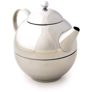 White Lion Tea - Brushed Steel Henley Tea for Me Teapot with Cup