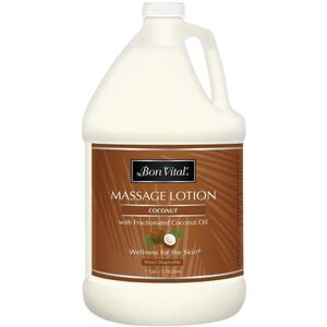 Bon Vital - Coconut Massage Lotion with Pure Fractionated Coconut Oil 128 oz. - 1 Gallon - 3.78 Liters